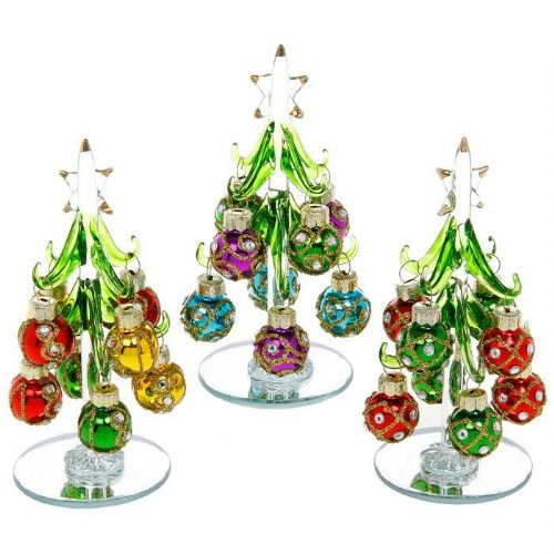 Small Clear Glass Christmas Trees with Vibrant Jewelled Baubles